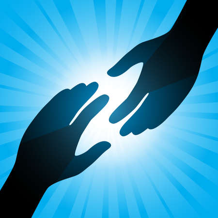 close together: Handshake. Illustration on an abstract blue background