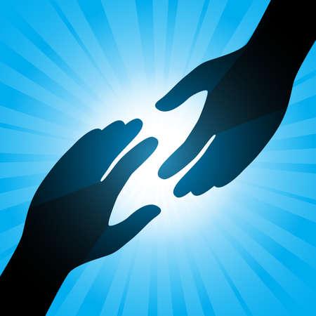 Poignée de main. Illustration sur un fond bleu abstraite Illustration