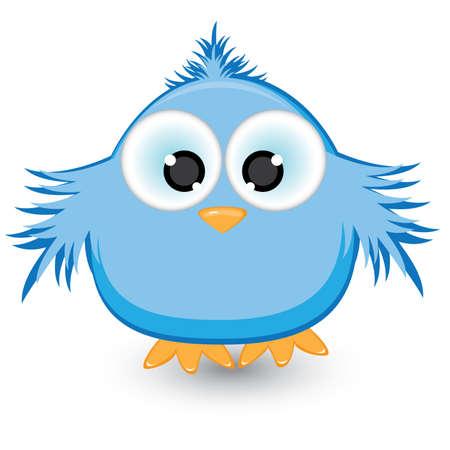 Cartoon blue sparrow. Illustration on white background Vector