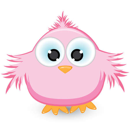 Cartoon pink sparrow. Illustration on white background Çizim