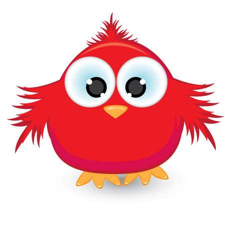 pollo caricatura: Gorri�n de dibujos animados rojo. Ilustraci�n sobre fondo blanco