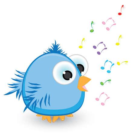 파란 만화 참새 노래. 흰색 배경에 그림 일러스트