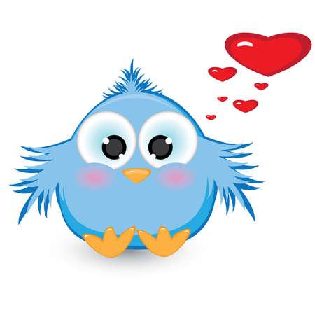 En el amor con tímida Gorrión azul. Ilustración sobre fondo blanco  Vectores