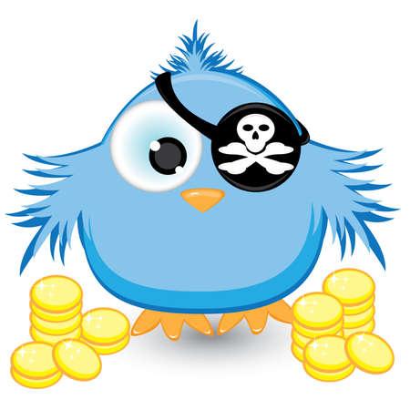 veréb: Cartoon pirate sparrow with gold coins. Illustration on white background Illusztráció