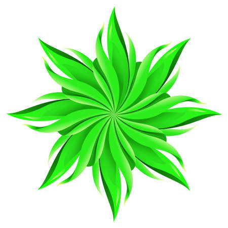 An abstract green flower on white background. A highly useful art element. Stock Vector - 9639035