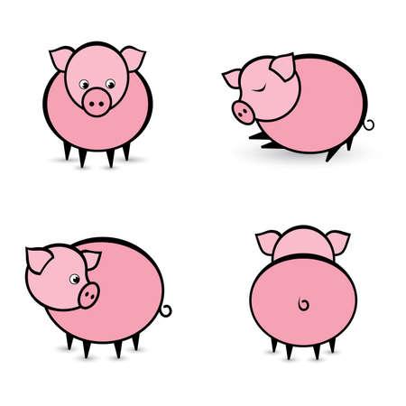 cerdo caricatura: Cuatro cerdos abstractos en diferentes posiciones. Ilustración sobre fondo blanco