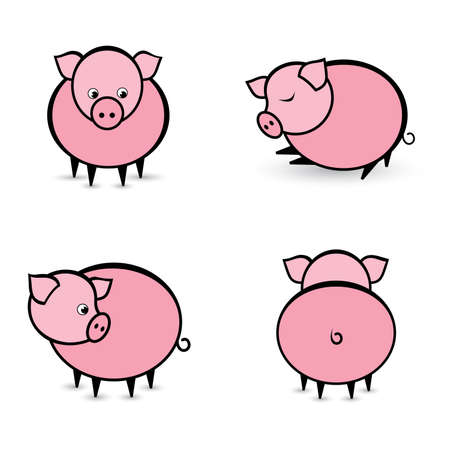 working animal: Four abstract pigs in different positions. Illustration on white background