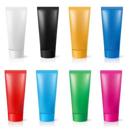 red tube: Tubos realistas para crema de diferentes colores. Ilustraci�n sobre fondo blanco