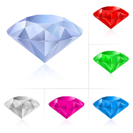 karat: Realistic diamonds in different colors. Illustration for design on white background