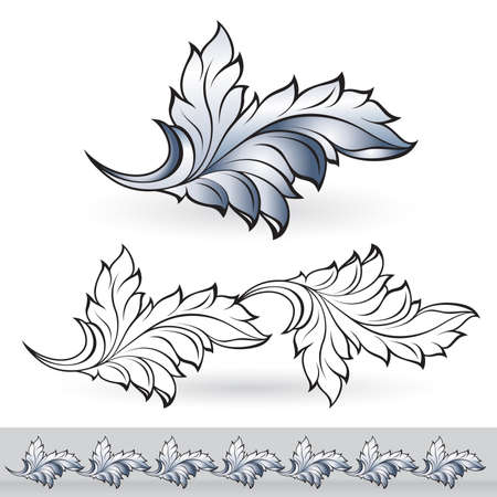 Abstract beautiful leaf. Illustration for design on white background Vector
