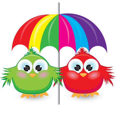 Two cartoon sparrow under the colorful umbrella. Illustration on white background  Illustration