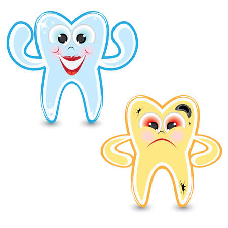 diseased: Cartoon healthy and diseased tooth. Illustration on white background