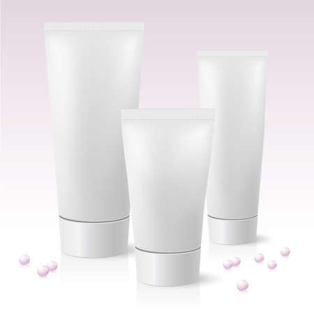 Three cosmetic tube. Illustration on pink background  Vector
