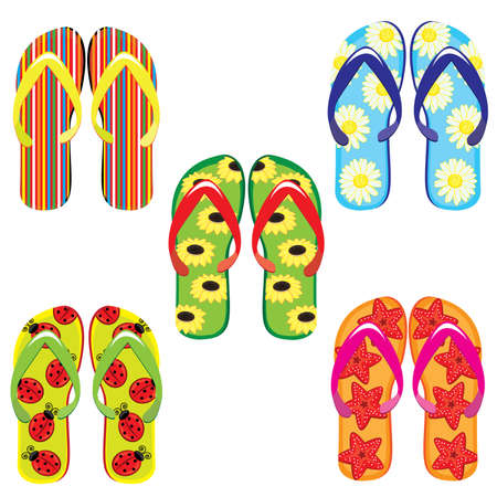 informal: Five pairs of colorful flip flops. Illustration on white background  Illustration