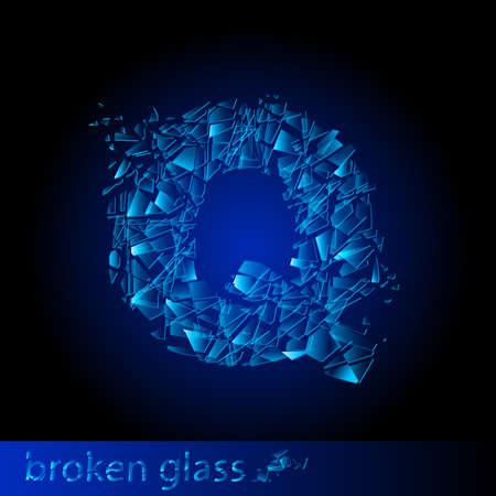 descuidado: One letter of broken glass - Q. Illustration on black background Ilustração