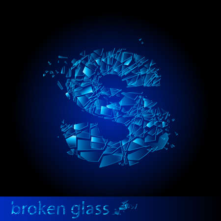 shattered glass: One letter of broken glass - S. Illustration on black background