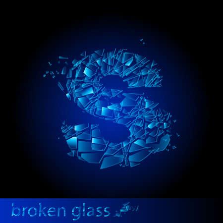 shattered glass: One letter of broken glass - S. Illustration on black background