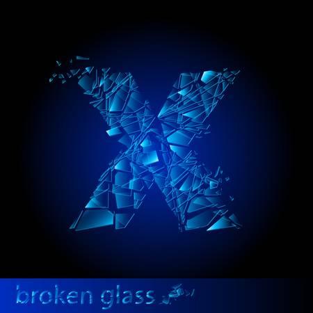 One letter of broken glass - X. Illustration on black background Vector