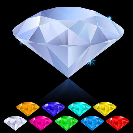 Realistic diamonds in different colors. Illustration for design on black background  Vector