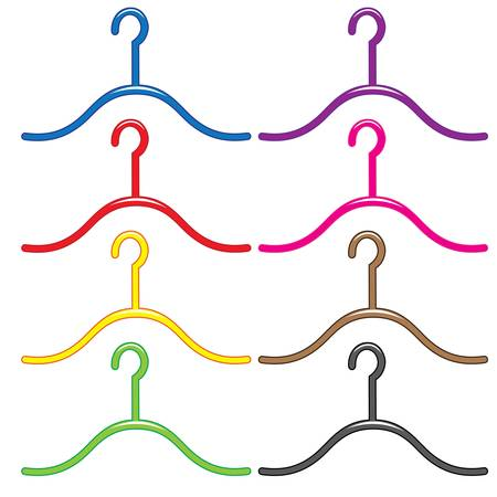 Set of colorful hangers.  Illustration on white background  Vector