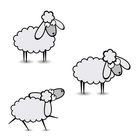 Three abstract gray sheep. Part Two. Illustration on white background Stock Vector - 9717013