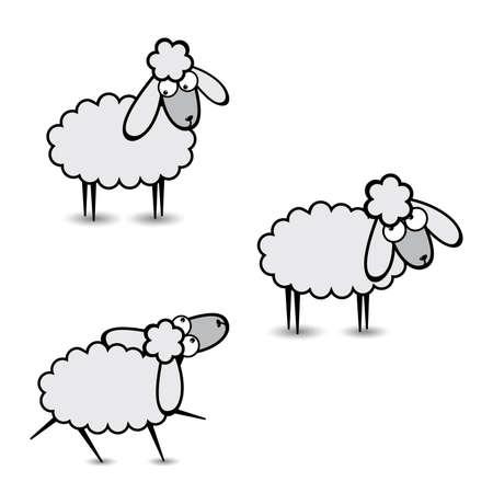 amigos comiendo: Tres ovejas gris abstractas. Segunda parte. Ilustraci�n sobre fondo blanco Vectores