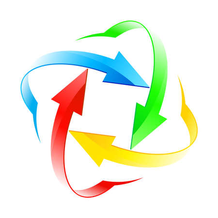 Establecer número diez de la flecha color diferentes círculos aislados en el blanco Ilustración de vector
