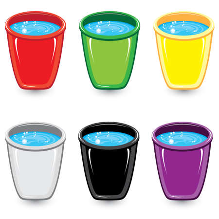 soapy water: Set of colorful buckets of soapy water. Illustration on white background  Illustration