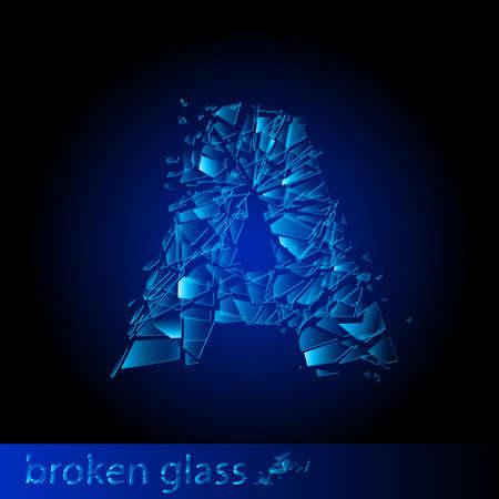 descuidado: One letter of broken glass - A. Illustration on black background