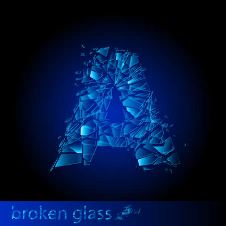 window hole: One letter of broken glass - A. Illustration on black background