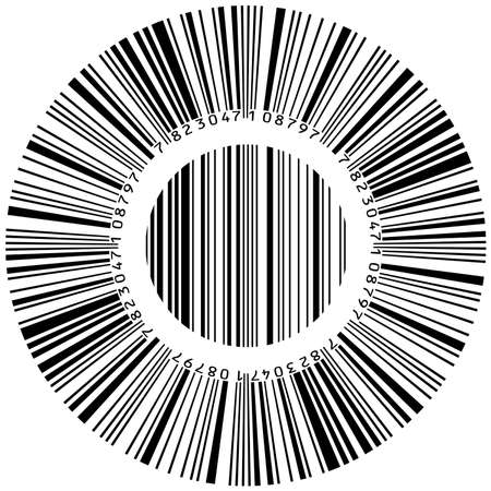 Abstract circular bar code. Illustration on white background  Vector
