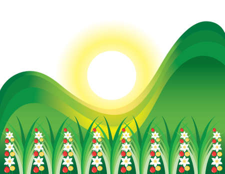 Abstract flowering grass in the sun. Illustration on white background Stock Vector - 9717102