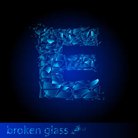 shattered glass: One letter of broken glass - E. Illustration on black background