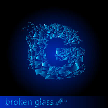 shattered glass: One letter of broken glass - G. Illustration on black background