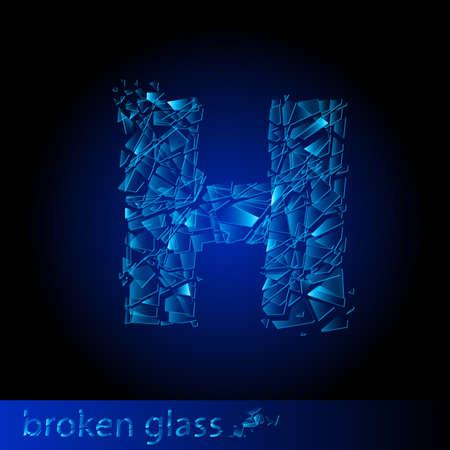 One letter of broken glass - H. Illustration on black background Vector