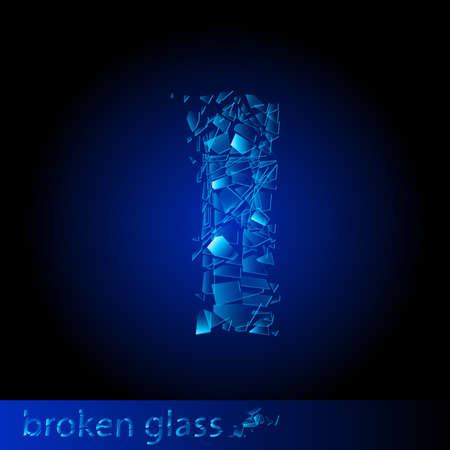 One letter of broken glass - I. Illustration on black background Stock Vector - 9717678