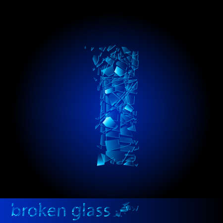 shattered glass: One letter of broken glass - I. Illustration on black background Illustration