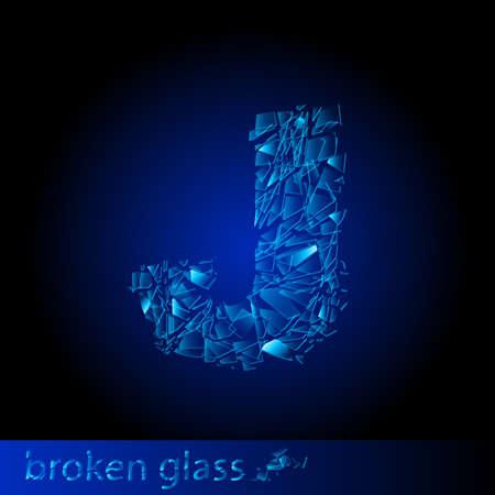 One letter of broken glass - J. Illustration on black background Vector