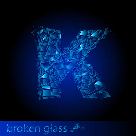 shattered glass: One letter of broken glass - K. Illustration on black background