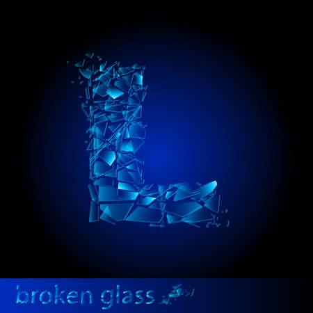 One letter of broken glass - L. Illustration on black background Vector