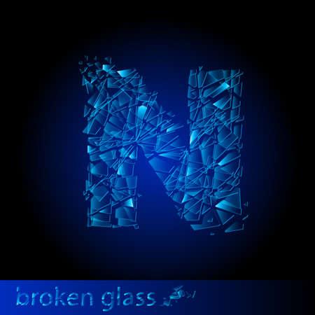 One letter of broken glass - N. Illustration on black background Vector