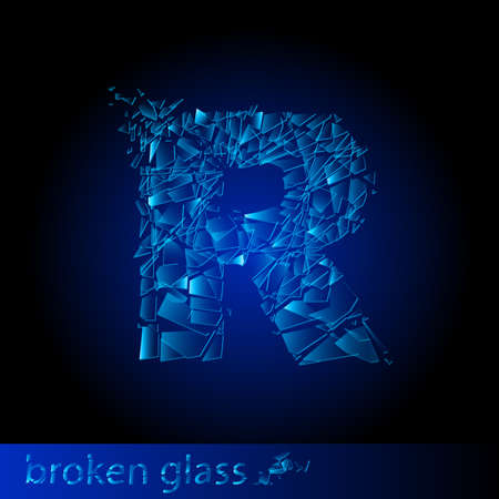 shattered glass: One letter of broken glass - R. Illustration on black background