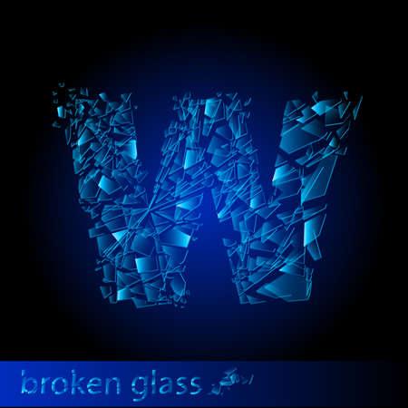 One letter of broken glass - W. Illustration on black background Vector