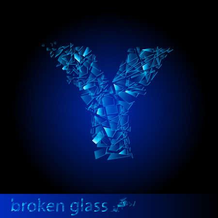 One letter of broken glass - Y. Illustration on black background Vector