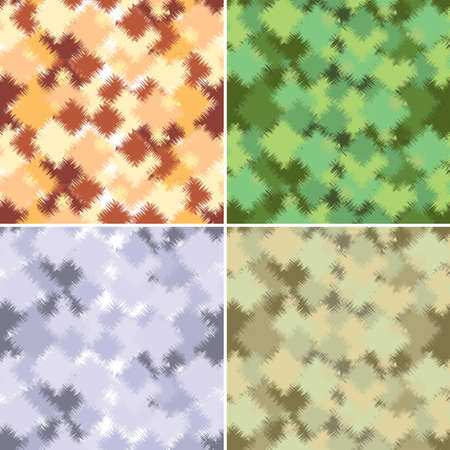 Four of abstract form and color camouflage. Illustration for design Vector