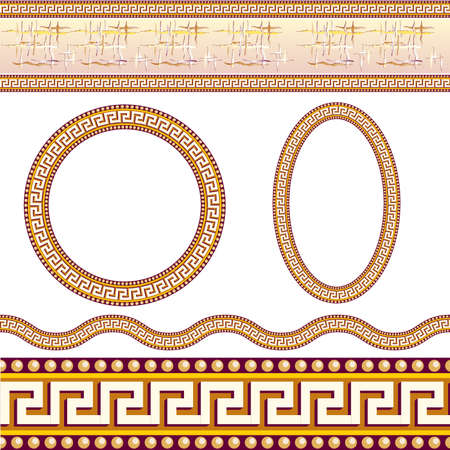 neoclassical: Greek border patterns. Illustration on white background