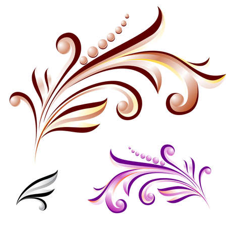 Abstract flower with leaves of different colors. Nice design elements for your best creative ideas. Vector