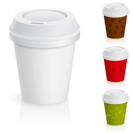 pokrywka: Zestaw filiżanek kawy na wynos. Ilustracja na białym tle.