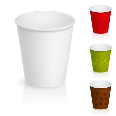 Ensemble de tasses à café en carton vides. Illustration sur fond blanc