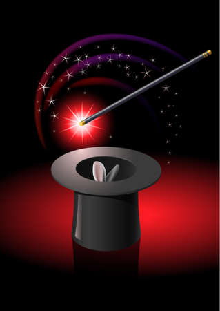 Magic wand performing tricks on a top hat with stars  Vector